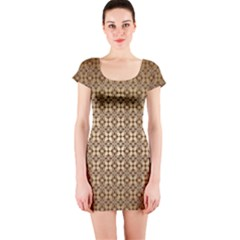 Background Seamless Repetition Short Sleeve Bodycon Dress