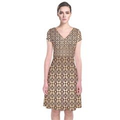 Background Seamless Repetition Short Sleeve Front Wrap Dress