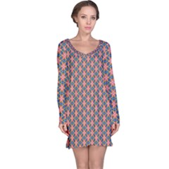 Background Pattern Texture Long Sleeve Nightdress