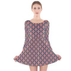 Background Pattern Texture Long Sleeve Velvet Skater Dress