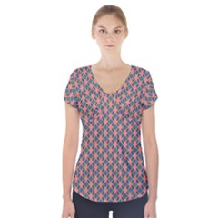 Background Pattern Texture Short Sleeve Front Detail Top
