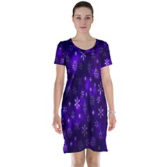 Bokeh Background Texture Stars Short Sleeve Nightdress