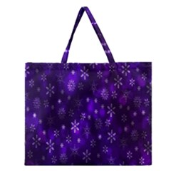 Bokeh Background Texture Stars Zipper Large Tote Bag