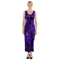 Bokeh Background Texture Stars Fitted Maxi Dress