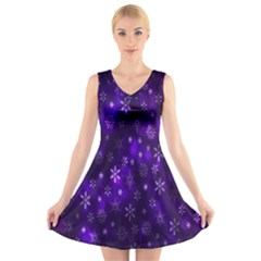 Bokeh Background Texture Stars V-Neck Sleeveless Skater Dress