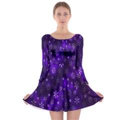 Bokeh Background Texture Stars Long Sleeve Skater Dress