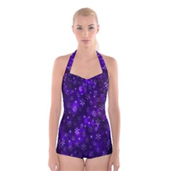 Bokeh Background Texture Stars Boyleg Halter Swimsuit