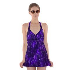 Bokeh Background Texture Stars Halter Swimsuit Dress