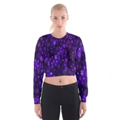 Bokeh Background Texture Stars Women s Cropped Sweatshirt