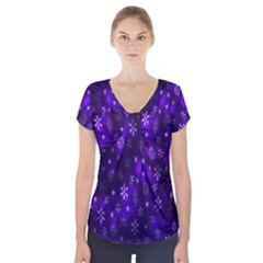 Bokeh Background Texture Stars Short Sleeve Front Detail Top