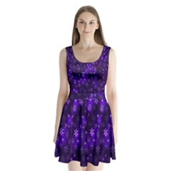 Bokeh Background Texture Stars Split Back Mini Dress