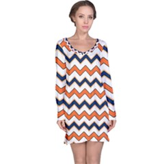 Chevron Party Pattern Stripes Long Sleeve Nightdress