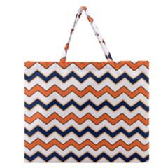 Chevron Party Pattern Stripes Zipper Large Tote Bag
