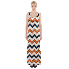 Chevron Party Pattern Stripes Maxi Thigh Split Dress