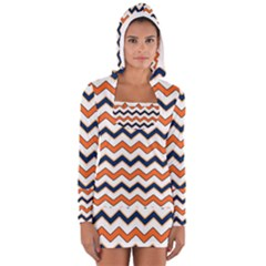 Chevron Party Pattern Stripes Women s Long Sleeve Hooded T Shirt