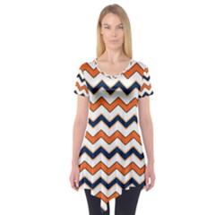 Chevron Party Pattern Stripes Short Sleeve Tunic