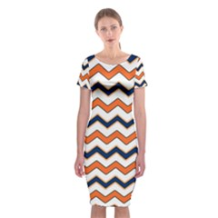 Chevron Party Pattern Stripes Classic Short Sleeve Midi Dress