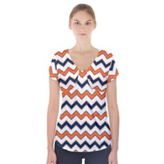 Chevron Party Pattern Stripes Short Sleeve Front Detail Top