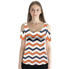 Chevron Party Pattern Stripes Butterfly Sleeve Cutout Tee