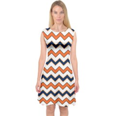 Chevron Party Pattern Stripes Capsleeve Midi Dress