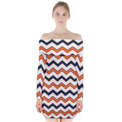 Chevron Party Pattern Stripes Long Sleeve Off Shoulder Dress