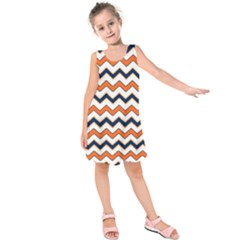 Chevron Party Pattern Stripes Kids  Sleeveless Dress