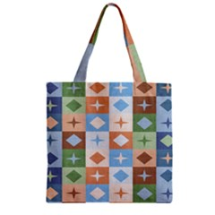 Fabric Textile Textures Cubes Zipper Grocery Tote Bag