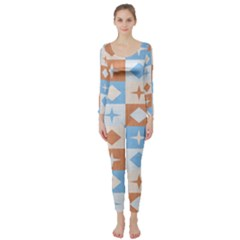 Fabric Textile Textures Cubes Long Sleeve Catsuit