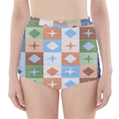 Fabric Textile Textures Cubes High-Waisted Bikini Bottoms