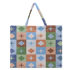 Fabric Textile Textures Cubes Zipper Large Tote Bag