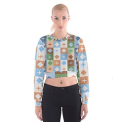 Fabric Textile Textures Cubes Women s Cropped Sweatshirt