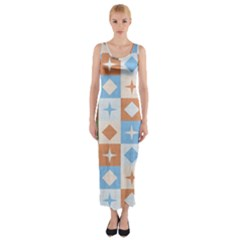 Fabric Textile Textures Cubes Fitted Maxi Dress