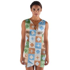 Fabric Textile Textures Cubes Wrap Front Bodycon Dress