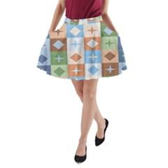 Fabric Textile Textures Cubes A-Line Pocket Skirt