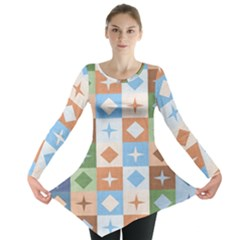 Fabric Textile Textures Cubes Long Sleeve Tunic