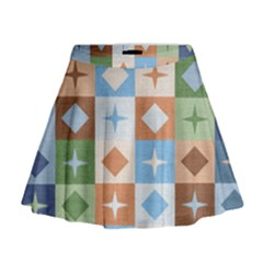 Fabric Textile Textures Cubes Mini Flare Skirt