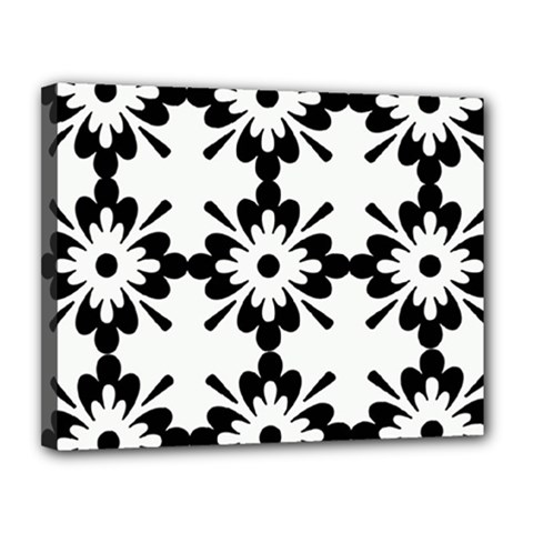 Floral Illustration Black And White Canvas 14  x 11