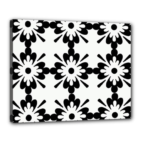 Floral Illustration Black And White Canvas 20  X 16