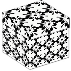Floral Illustration Black And White Storage Stool 12