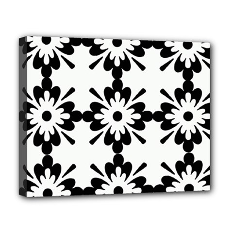 Floral Illustration Black And White Deluxe Canvas 20  X 16