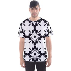 Floral Illustration Black And White Men s Sport Mesh Tee
