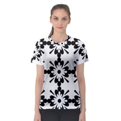 Floral Illustration Black And White Women s Sport Mesh Tee