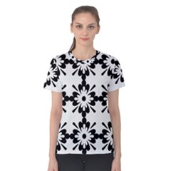 Floral Illustration Black And White Women s Cotton Tee
