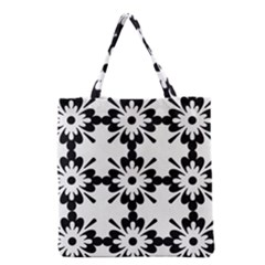 Floral Illustration Black And White Grocery Tote Bag