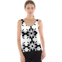Floral Illustration Black And White Tank Top