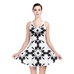 Floral Illustration Black And White Reversible Skater Dress