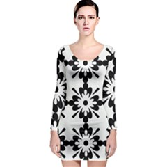Floral Illustration Black And White Long Sleeve Bodycon Dress