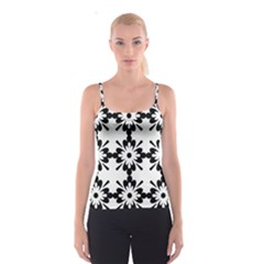 Floral Illustration Black And White Spaghetti Strap Top