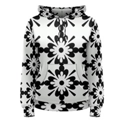 Floral Illustration Black And White Women s Pullover Hoodie