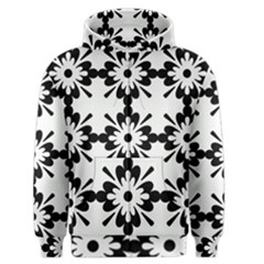 Floral Illustration Black And White Men s Zipper Hoodie